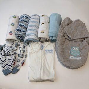 Baby boy bundle- Aden & Anais swaddles, sleepsack